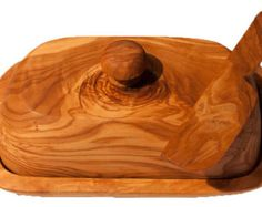 Wooden Butter Dish, Knife from carved solid Olive wood
