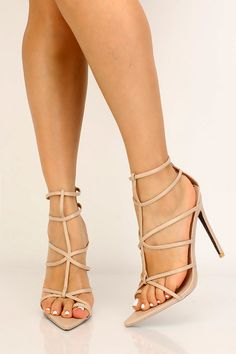 Nude Strappy Pointy Toe High Heels Platform High Heels, High Heel Pumps, Pumps Heels, Stiletto Heels, Nude Heels, Spring Shoes, Summer Shoes, Womens High Heels, Womens Flats