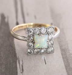 Square Opal and Diamond Edwardian Cluster Ring #opalsaustralia