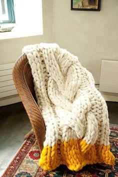tricot géant mérinos, giant knitting merinos, couverture jeté torsade