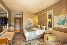 Cosy interior: One of the bedrooms from the Titanic Lara Beach, which is located on thesouth-west Turkish coast