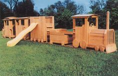 Getting a wooden train for outside play area