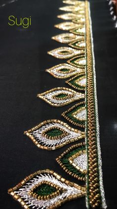 Alle Der Neuen Bridal blouses by Sugi ✨✨ Border Embroidery Designs, Bead Embroidery Patterns, Embroidery Suits Design, Hand Embroidery Dress, Couture Embroidery, Embroidery Fashion, Hand Work Blouse Design, Simple Blouse Designs, Maggam Work Designs