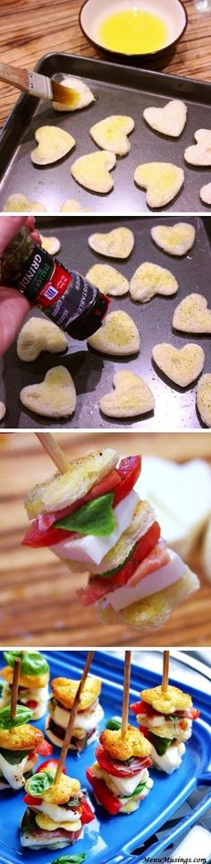 Cut out hearts using toast bread...brush with garlic butter...emmm good