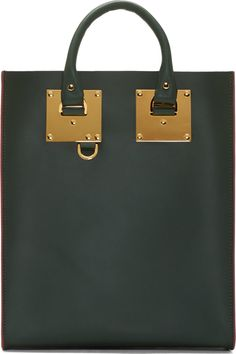 Sophie Hulme Forest Green Leather Tote Bag