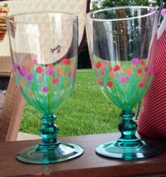 Hand Painted Glassware Set of 4 on Etsy, $45.00