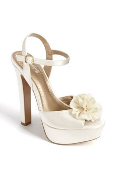 BP. 'Suzette' Sandal http://www.weddingfashioning.com/wedding-shoes/wedding-shoes-bp-suzette-sandal.html   An airy bloom perfects the femme of an elegant sandal shaped from lustrous satin. Approx. heel height: 5 1/2″ with a 1 1/2″ platform (comparable to a 4″ heel). Fabric upper/synthetic lining/rubber sole.