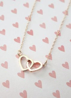 :::: PINTEREST.COM christiancross ::::  Rose Gold Double Heart Infinity necklace simple