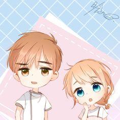 Chibi Boy, Cute Anime Chibi, Kawaii Chibi, Kawaii Art, Kawaii Anime, Anime Couples Drawings, Anime Couples Manga, Cute Anime Couples, Anime Guys