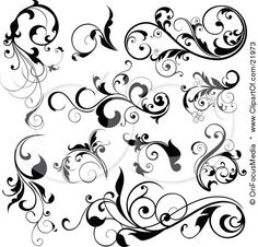 Clipart Picture Illustration of a Collection Of Black Leafy Vines And Accents On A White Background by OnFocusMedia