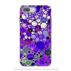 Purple Bubble Abstract - Artistic iPhone 7 PLUS Tough Case - Dual Layer Protection - Grape Bubbles