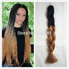 Black+Brown crochet box braids,100% kanekalone ombre jumbo braids hair from China factory