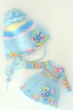 Crochet set for Blythe doll Blue tones by ByArtemis on Etsy