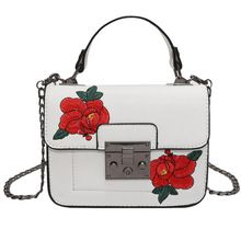 New vintage Floral Embroidered Bag Women PU Leather Handbags Famous Brand Women  chain Shoulder Messenger Bags 1133196a19ba7