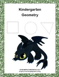 This fun Train Your Dragon themed collection of printable worksheets is a great way for your Kindergarten students to practice their geometry. They trace and count the shapes. Circles,rectangles,squares, and triangles, are included. They are also asked to match the words to the shapes.