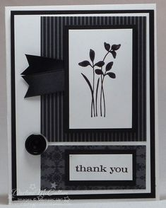 Stampin Up Just Believe Stamp Set - layout - black and white - bjl Handmade Thank You Cards, Greeting Cards Handmade, Scrapbooking, Scrapbook Cards, Card Making Inspiration, Making Ideas, Sympathy Cards, Paper Cards, Flower Cards