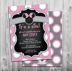 Printable Minnie Mouse Chalkboard Style Baby Shower Invitation by The Party Stork. Perfect for a baby girl shower. DIY    Invitation is 5 x 7 and
