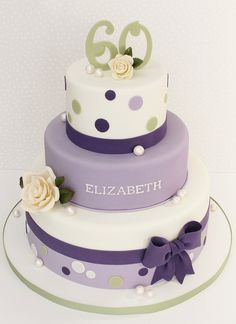 Lots of lavender this weekend. Birthday cake with sugar roses, bow & pearls. 60th Birthday Cake For Ladies, Fish Cake Birthday, Adult Birthday Cakes, Cupcakes, Cupcake Cakes, Beautiful Cakes, Amazing Cakes, Elegant Cakes, Occasion Cakes