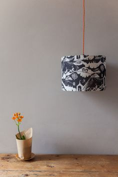 Whimsical lamp shade. Enter the Magician Lampshade in Slate  by ButterscotchBeesting, £58.00