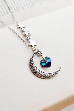 moon heart drop pendant necklace with star chain