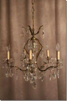 Elegant Gearbeiteter Jugendstil Kristall Prunklüster Kronleuchter Aus Bronze
