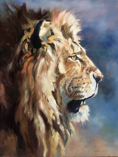 Future King Original Art Oil Painting Of An African Lion By Canadian Artist Kindrie Grove - Painting Big Cats Art, Cat Art, African Animals, African Art, Lion Painting, Painting Trees, Painting Flowers, Lion Art, Impressionist Art
