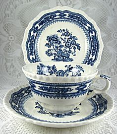 Masons Manchu Cup And Saucer With Plate Blue Transferware