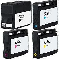 Set of 4 Remanufactured Replacement for HP 932XL Black 933XL Cyan Magenta & Yellow High Yield Ink Cartridges