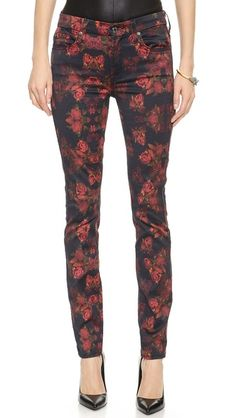 7 for All Mankind rose print jeans