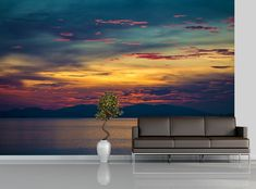 Sea Sunset Peel & Stick Self-Adhesive Wallpaper Mural Removable Room Wall Art #Unbranded