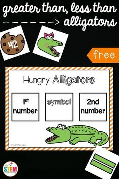 Free greater than, less than alligators! Such a fun way to practice comparing numbers to 100. Perfect kindergarten or first grade math center or math activity.