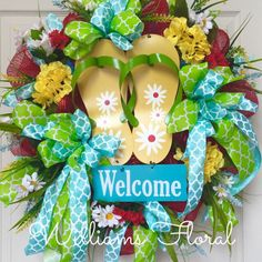 Welcome Flip Flop Summer and Spring Mesh Wreath by WilliamsFloral on Etsy https://www.etsy.com/listing/227549423/welcome-flip-flop-summer-and-spring-mesh