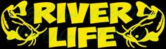 River Life Vinyl Decal With two catfish sticker vehicle Fishing Fish | LilBitOLove - Housewares on ArtFire