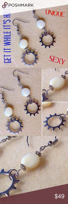 Sexy long earrings gear steam punk glass bead Gorgeous earrings! Bundle and save. New and never used. Silver gear dangling by silver hardware with 3mm detailed rounded spacer, and beautiful round flat shiny ivory bead topped with 3mm round silver spacer. The earring hooks are also silver. This is handcrafted homemade with love and very unique. No one else will have this beautiful one of a kind jewelry! Jewelry Earrings
