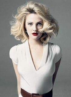 Blonde lob in curls on Drew Barrymore is pure prettiness. By Norman Jean Roy