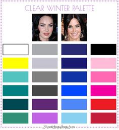 Best colors for Clear Winter seasonal color women; Clear Winter color palette | #ClearWinter #colorpalette