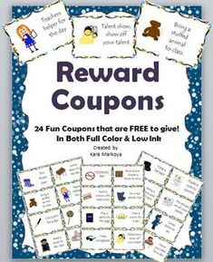 """Reward Coupons:  No more prize box, fun rewards for your class like """"teachers helper"""", or """"use a pen for a day"""".  24 different coupons"""