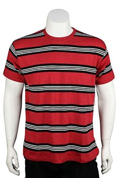 Jordan Craig Crew Neck Striped Tee Ash Red - Black - White