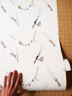Removable Wallpaper // Trapeze Act Print // от KateZarembaCompany