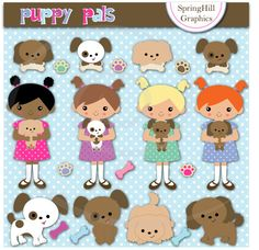 Instant Download Puppy Pals Digital Clip Art by SpringHillGraphics, $5.00