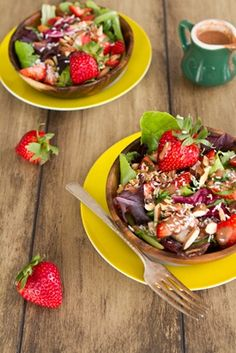 spring salad with strawberry lemon basil dressing - (oh she glows)