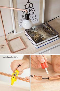 Decora cualquier rincón de tu casa con esta lámpara de mesa utilizando cobre, la tendencia de moda.  DIY - Lámpara - Lamp