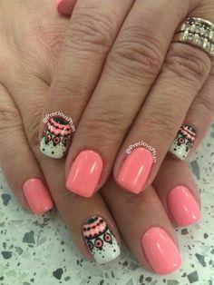 Coral. Nail art. No sticker. Nails