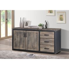 Overstock - Heritage 2-door Buffet.     33 inches high x 68 inches wide x 20 inches deep. $683