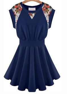 Cute and comfy navy blue dress with floral inserts
