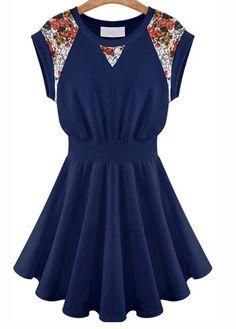 Simple Elastic Waist Short Sleeve Navy Blue Dress