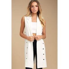 Make an Entrance White Vest ($54) ❤ liked on Polyvore featuring outerwear, vests, white, white vests, white waistcoat, vest waistcoat, knit vest and lapel vest