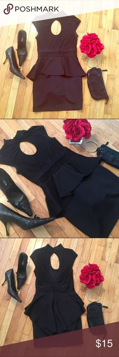🖤Black Peplum Dress🖤 This is in excellent condition. I bought it from another posher but unfortunately it doesn't fit. Peep hole neckline in the front and back with Peplum waist. The ruffle is longer in the back. 90% Polyester and 10% Spandex so it does have some stretch to it. Forever 21 Dresses Mini