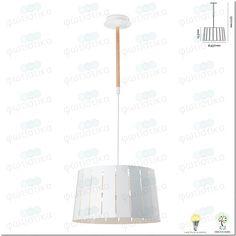 Φωτιστικό Σειράς Mix, 29968, Μεγάλο, Μέταλλο με Ξύλο, Λευκό Lighting, Pendant, Metal, Wood, Home Decor, Light Fixtures, Woodwind Instrument, Timber Wood, Pendants