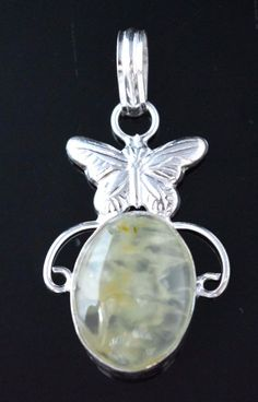 """Butterfly Shape Prehnite Sterling Silver Plated Pendant B"""" Day Gift For Her F80 #valueforbucks #Pendant"""